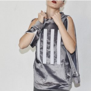 GREY SWEATSHIRT WITH DOUBLE ZIPPERS ON SLEEVES AND VELCRO STRIPES