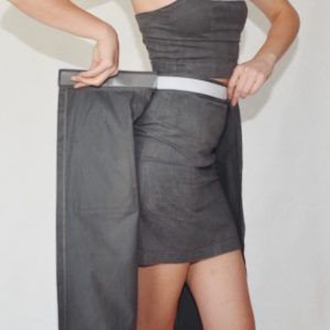 GREY HIGH WAIST MINI SKIRT TRANSFORMER WITH VELCRO ON THE BELT AND POCKETS