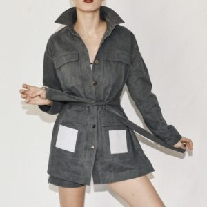 GREY JACKET WITH AN ADDITIONAL BELT AND VELCRO SQUARES ON POCKETS