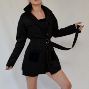 BLACK JACKET WITH AN ADDITIONAL BELT AND VELCRO SQUARES ON POCKETS